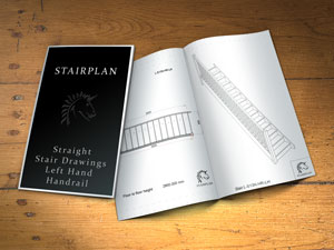 straight staircase plan drawings left side handrail balustrade