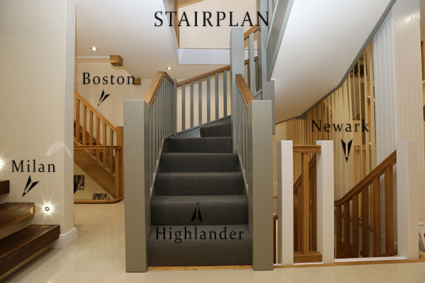 staircases on displan in uk showroom