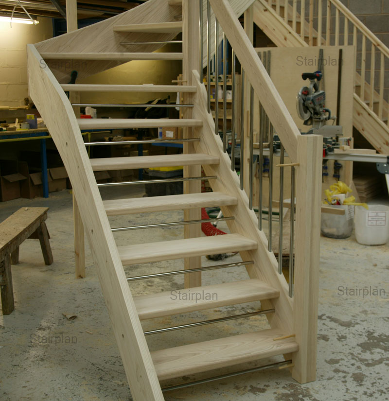 Ash winder staircase with stainless steel balusters