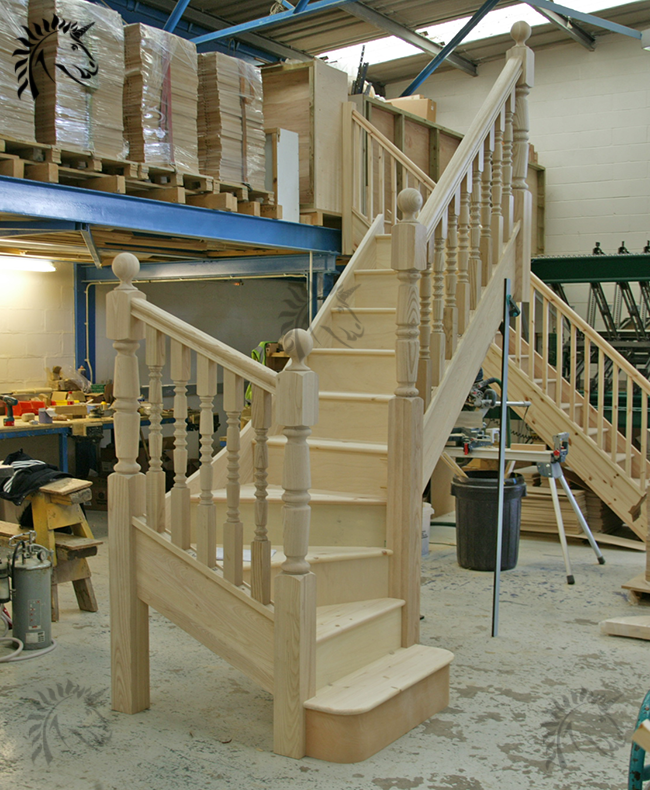 Ash winder staircase with designer collection turned spindles and newel posts