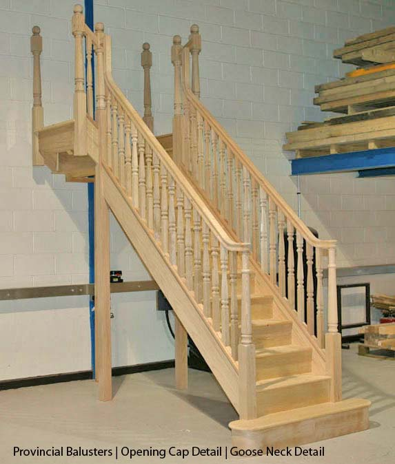 Provincial staircase Hemlock T shaped staircase