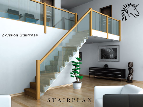 Oak and Glass Staircase the Z-Vision