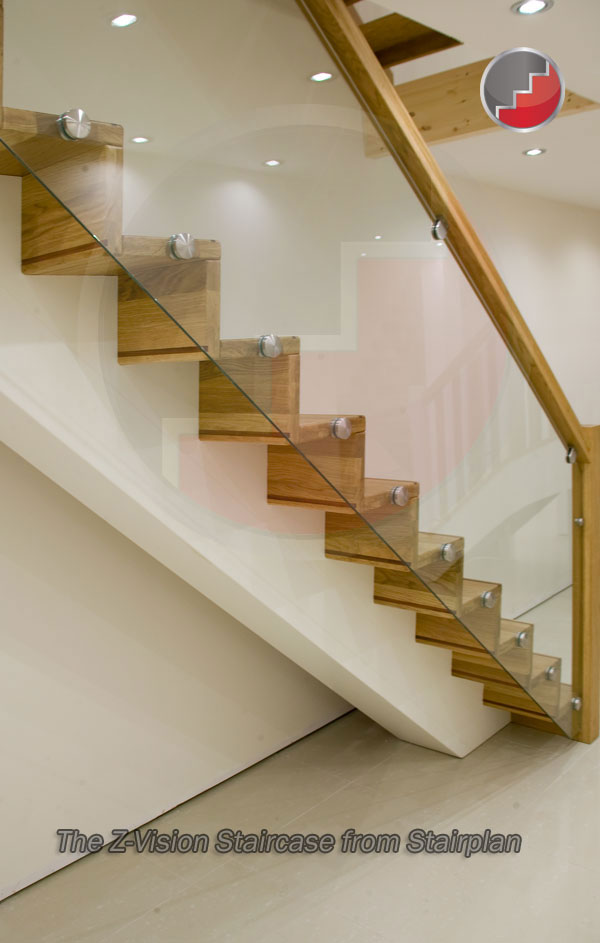 Modern design oak staircase with Glass