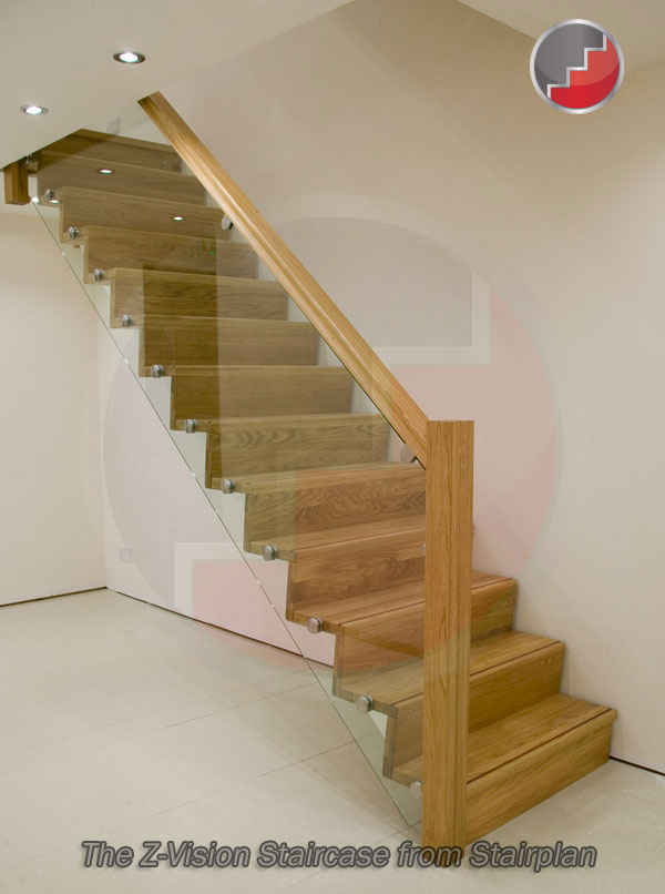 Contemporary oak staircase with glass
