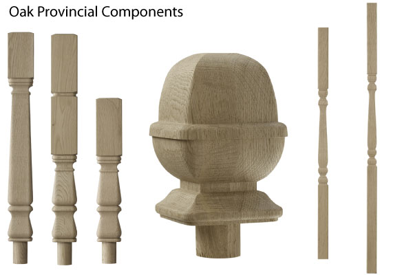 Provincial oak stiar spindles and newel posts