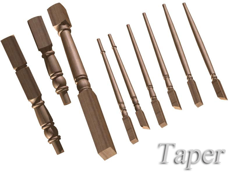 Taper oak staircase components