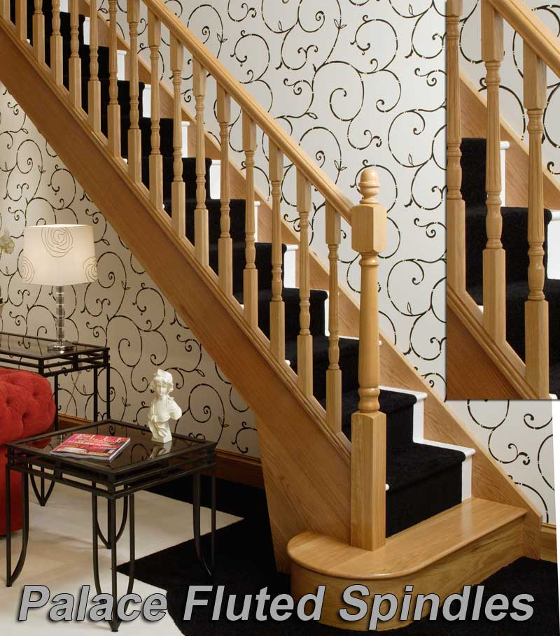 White Oak Palace fluted staircase spindles