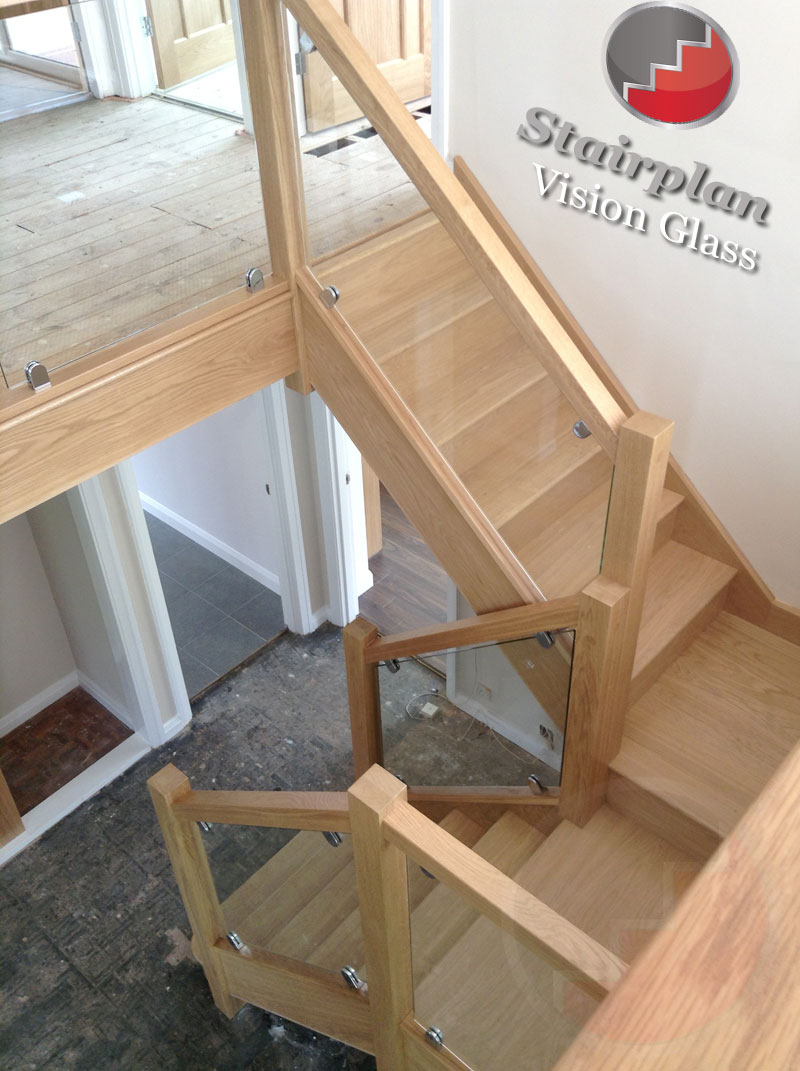 Oak Staircase with Vision Glass Balustrades
