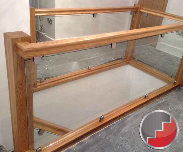Glass staircase Balustrade | Oak Handrails | toughened glass