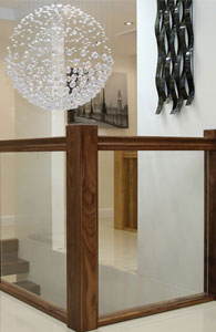 Black Walnut Handrail Vision Glass Balustrade panels