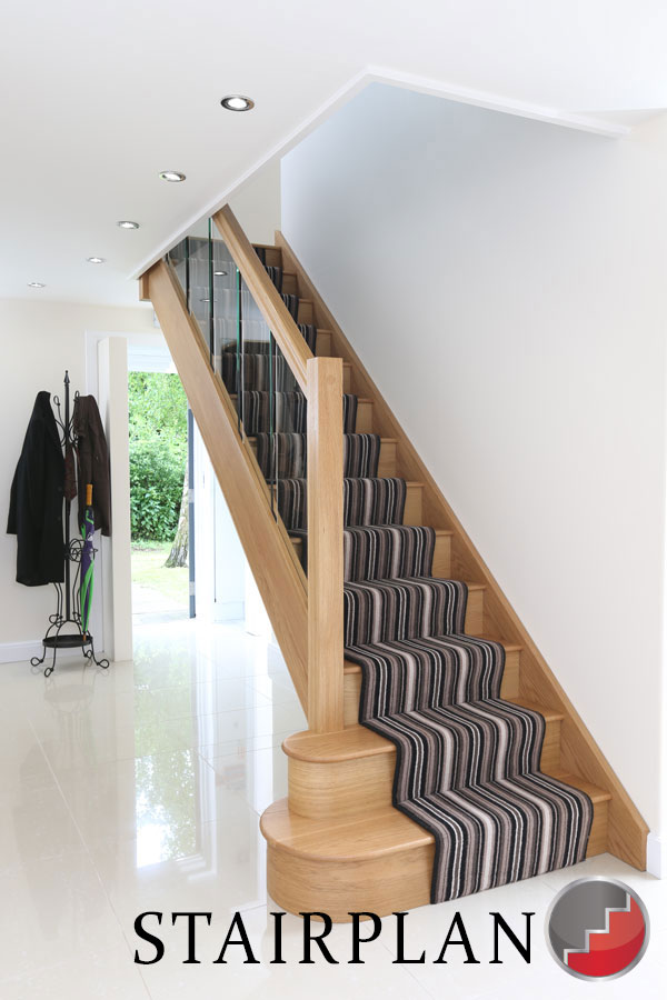 Oak staircases with glass balustrading