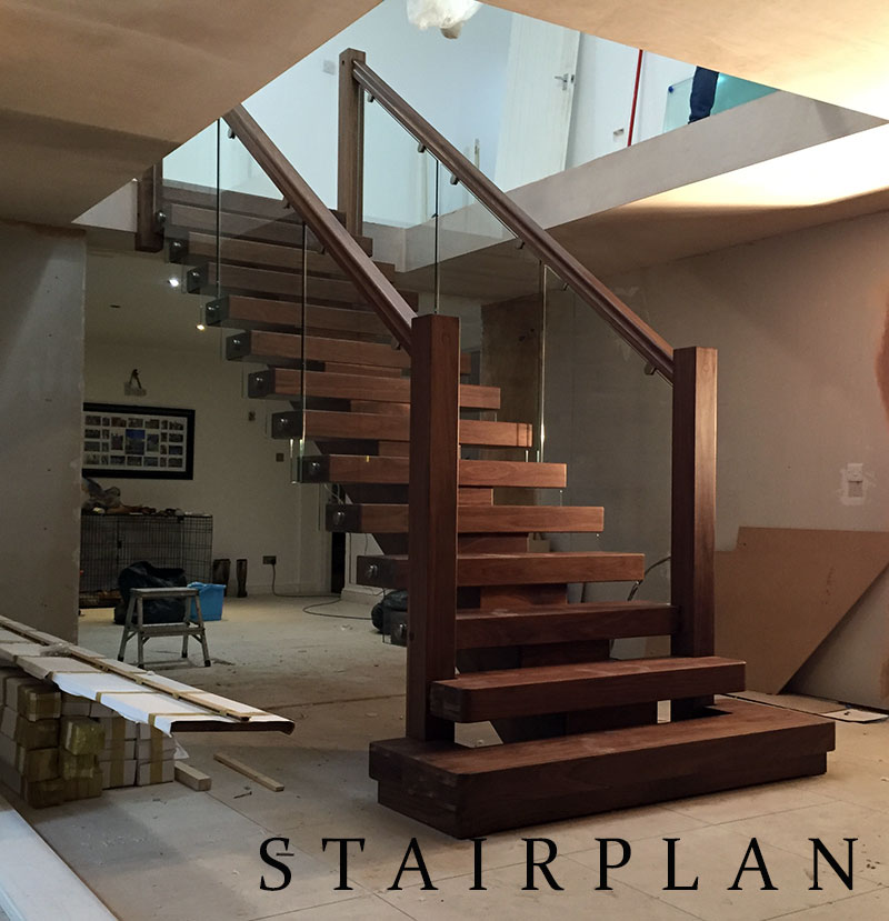 American Black Wanut straight x-vision staircase