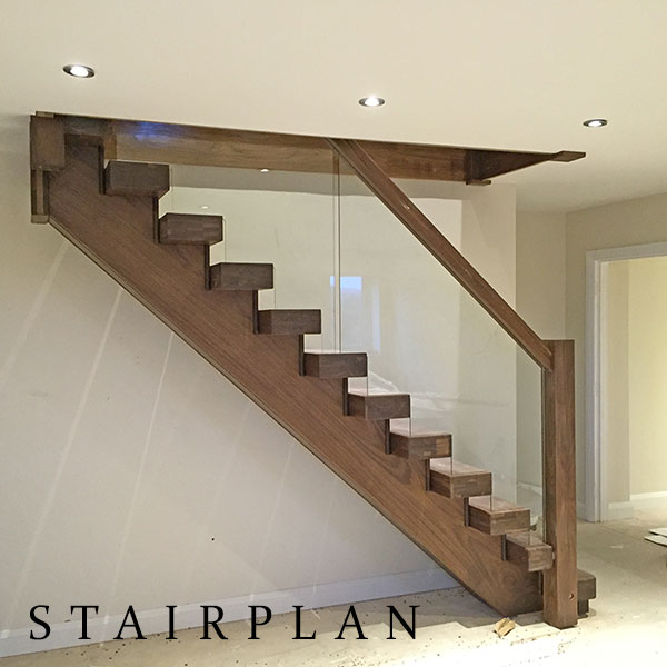 American Black Walnut Staircase With Glass Design Styles