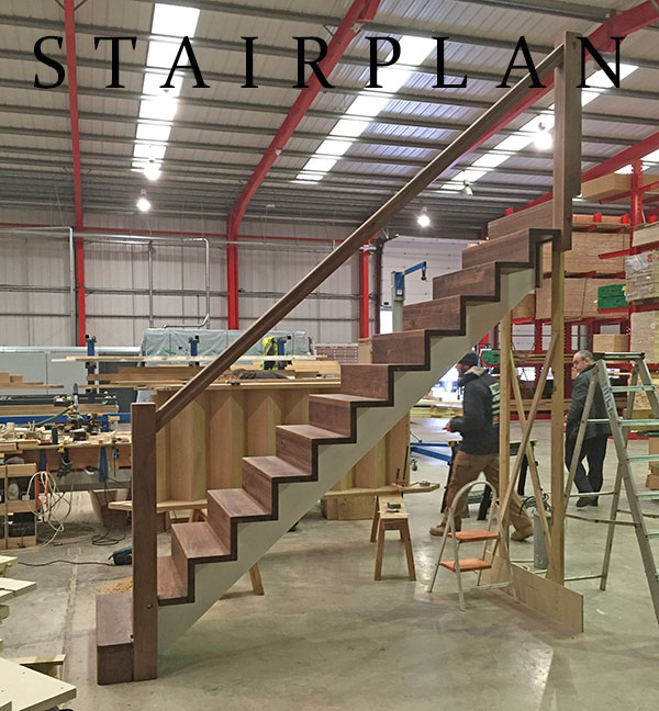 Walnut staircase straight layout in the Z-Vision staircase design