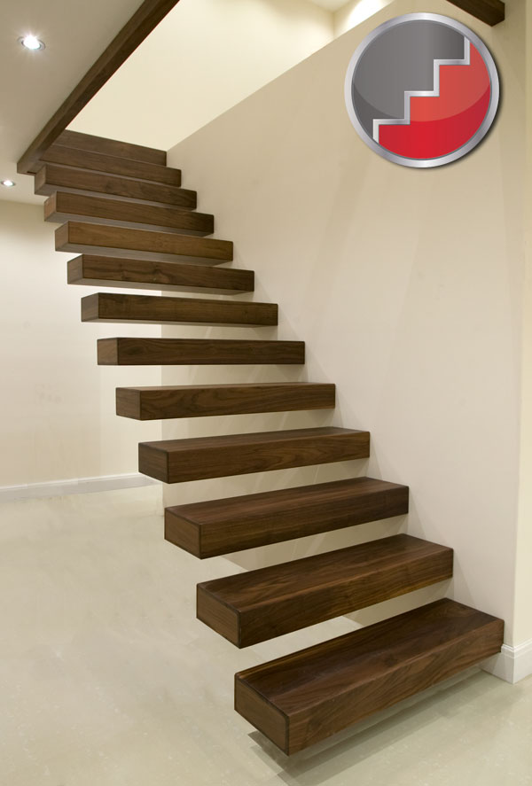 Black Walnut Floating staircase design